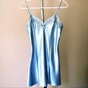 Victoria Secret Satin & Lace Slip - Slate Blue